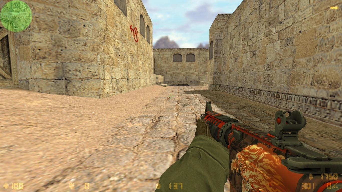 دانلود اسکین M4a4 اتشی برای AK47