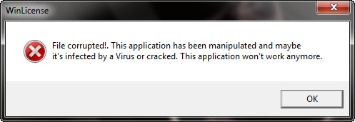 رفع ارور File Corrupted!.This Appliction has been manipulated and mabye it's infected by a virus or cracked . This Appliction Won't Work anymore