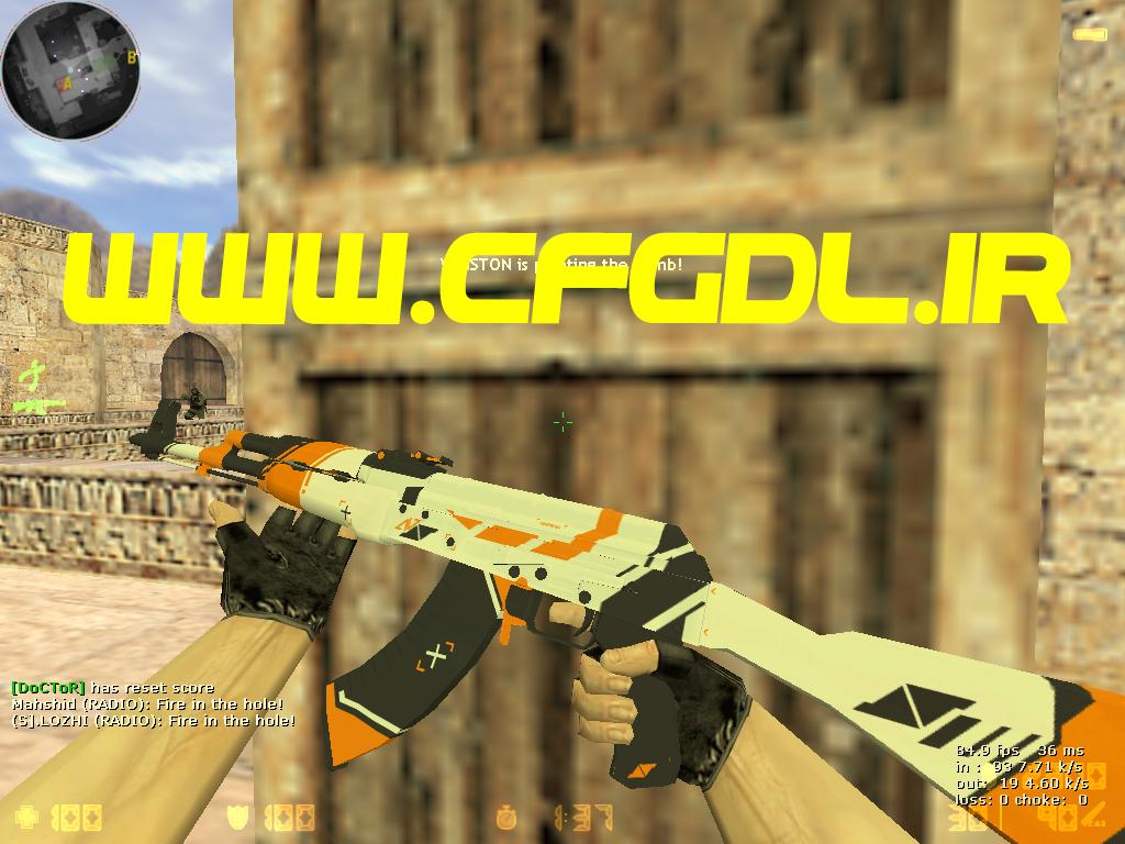 دانلود اسکین AK47 | Asiimov HD برای کانتر استریک 1.6